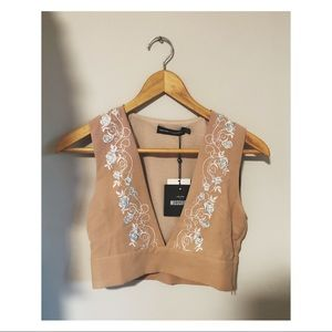 Carli Bybel X MIssguided Embroidered Crop Top